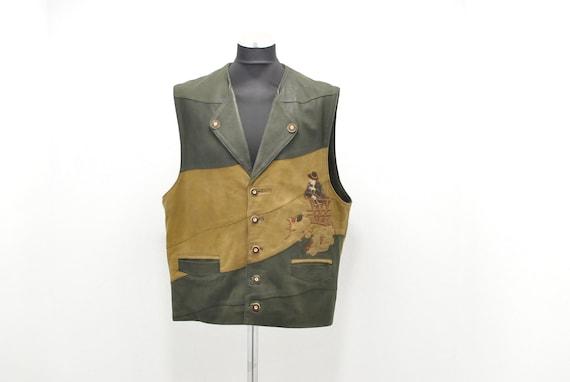 Vintage MEN'S LEATHER VEST , charming folk vest ,