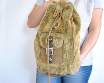 Vintage LEATHER and FAUX backpack , women's backpack ............(530)