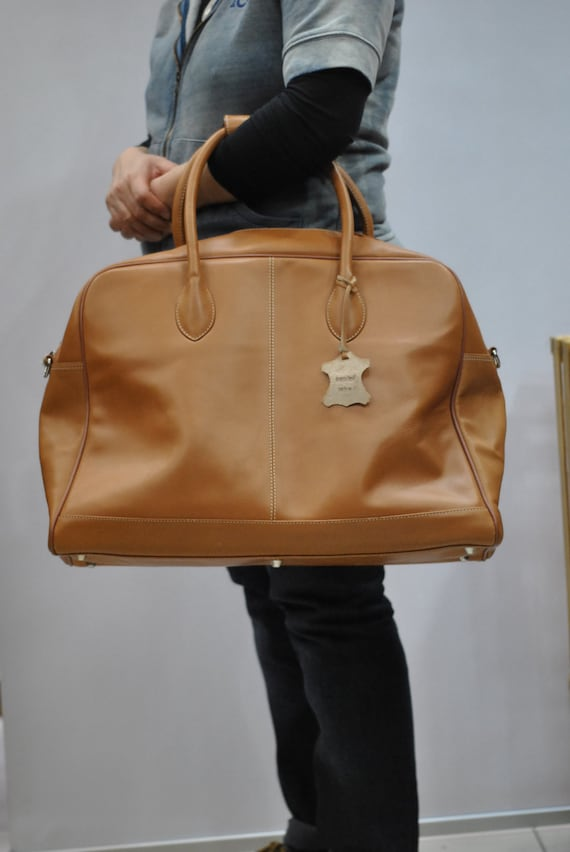 Vintage TRAVEL leather bag , leather suitcase , le