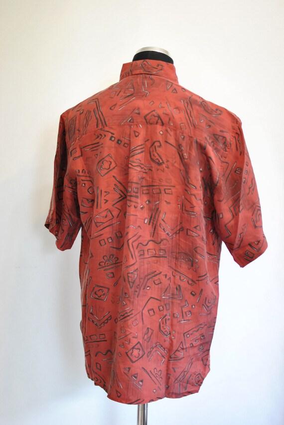 Vintage SILK SHIRT , men 's printed silk shirt , … - image 3