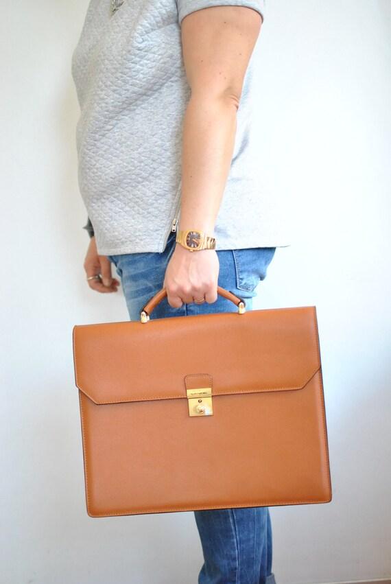 Vintage LANCEL PARIS MEN'S leather briefcase , the
