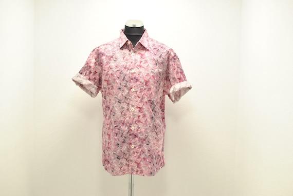 Vintage Printed cotton summer shirt , men's shirt