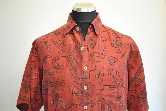 Vintage SILK SHIRT , men 's printed silk shirt , … - image 1