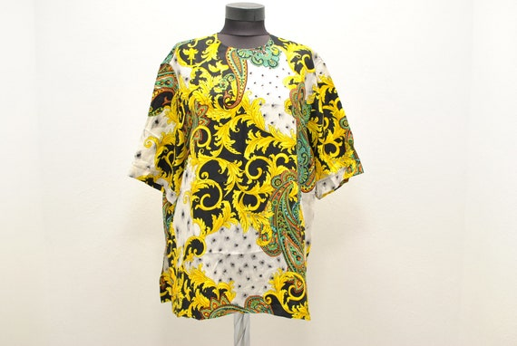 Vintage Printed Silk summer blouse , women's blous