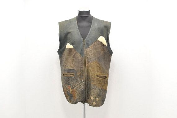 Vintage MEN'S LEATHER VEST , charming folk leather