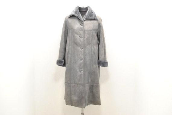 Vintage Lambskin winter coat , maxi long coat , wo