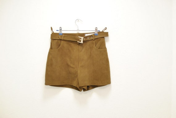 Vintage Ottimo leather shorts , women's suede leat