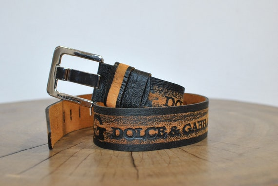 Vintage Men's leather belt , designer belt .......