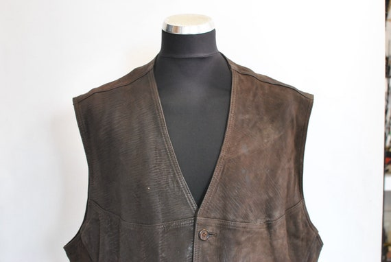 Vintage MADDOX MEN'S LEATHER vest , biker vest , m
