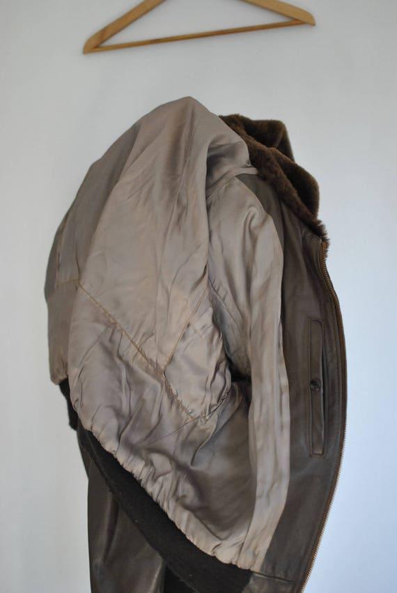Vintage LEATHER BOMBER leather aviator jacket MEN'S men's 027 jacket xTxnrWBF