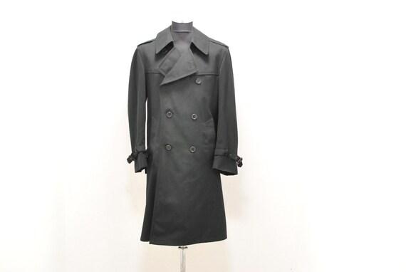 Vintage Men's trench coat  , men's black trench pa