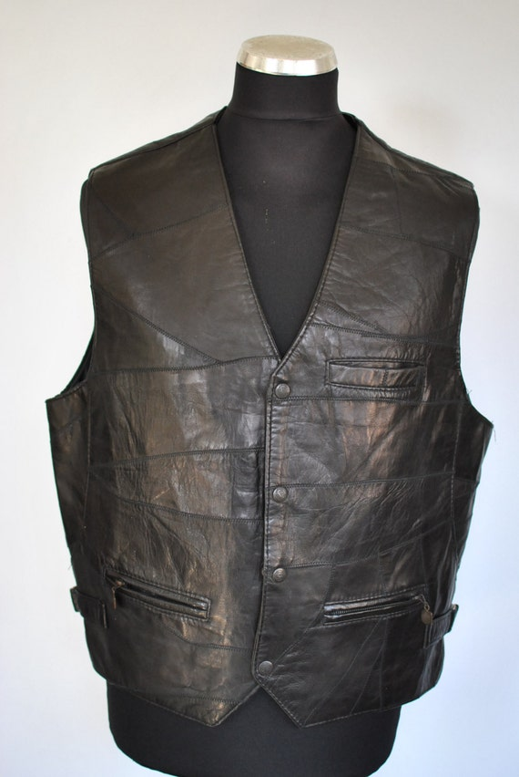 Vintage LEATHER VEST , men's leather vest.......(0