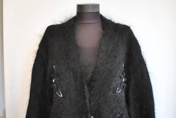 Vintage HANDMADE MOHAIR women's cardigan , fashion