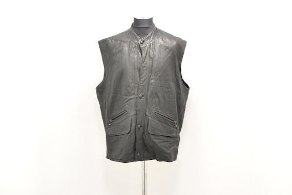 Vintage Men's leather vest , vintage vest , size X