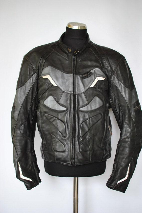 Vintage ACES by MQP leather moto jacket , men's biker jacket ,armour motorcycle jacket(054)