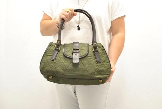 Vintage Barbour handbag , textil and leather bag ,