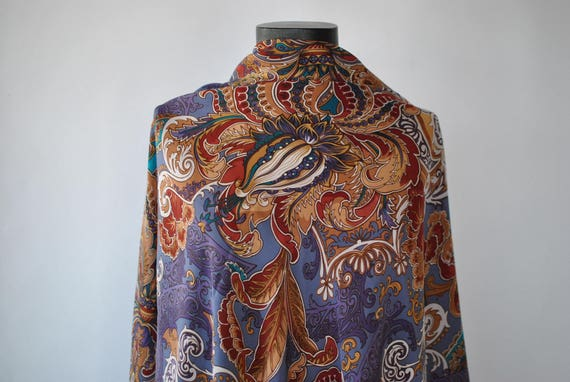 Vintage OVERSIZE PRINTED SILK scarf , big silk sha