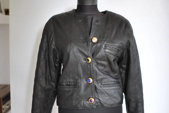 Vintage LEATHER JACKET , women's black leather jac