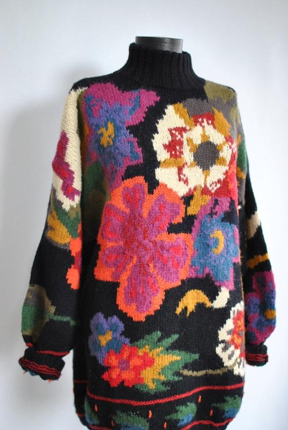 sweater women's OVERSIZE Vintage PATTERN FLOWER fashion sweater 022 qw7nITSxn