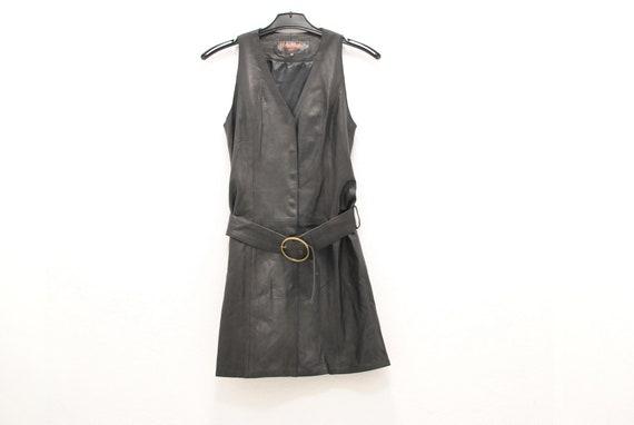 Vintage Giorgio Leather vest , leather dress , wom