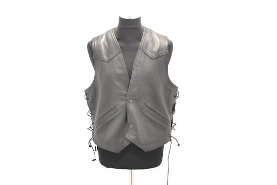 Vintage MEN'S LEATHER VEST , motorcycle leather ve