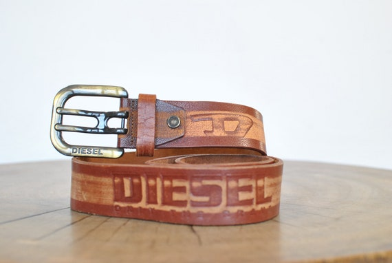 Vintage Diesel leather belt , men's leather belt..