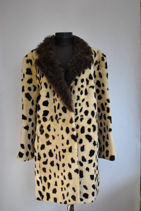 517 coat FUR Vintage LAMB winter PRINTED women's nxqYn76zXw