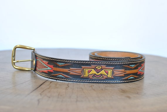 Vintage Men's leather belt , handmade embossed lea