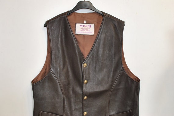Vintage LEATHER VEST , men's leather vest ........