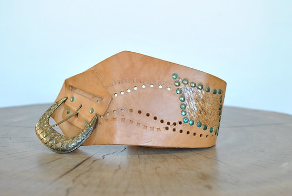 Vintage Handmade Leather waist belt , women's belt