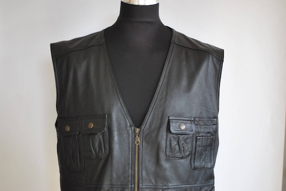 Vintage MEN'S LEATHER VEST , leather vest.........