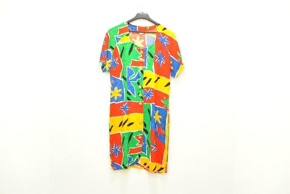 Vintage Summer printed dress , women's summer dres