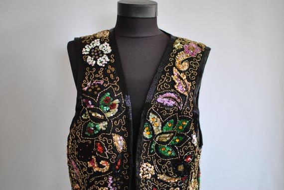 Vintage SEQUIN VEST , women's elegant vest........