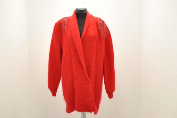 Vintage HANDMADE MOHAIR women's cardigan .........