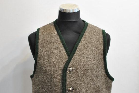 Vintage WOOL MEN'S VEST , charming folk vest......