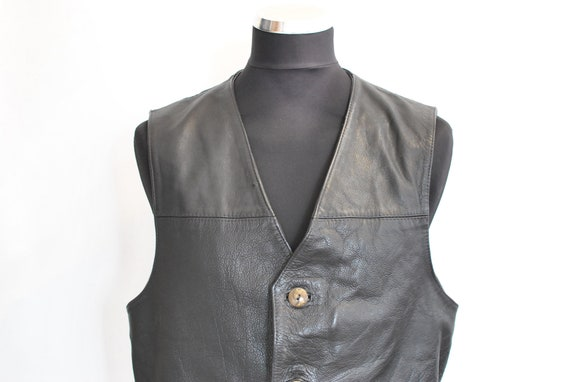 Vintage GIPSY MEN'S LEATHER vest , biker vest , mo