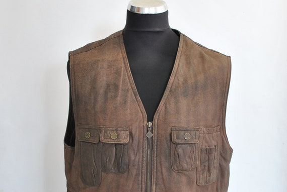Vintage ITALLO MEN'S LEATHER vest , hunter men's v