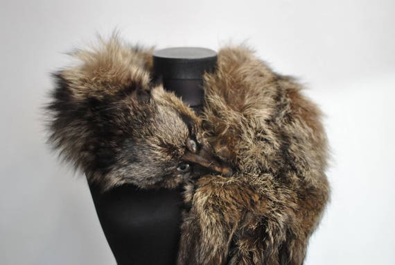 Vintage FOX FUR COLLAR , full body fur collar, ext