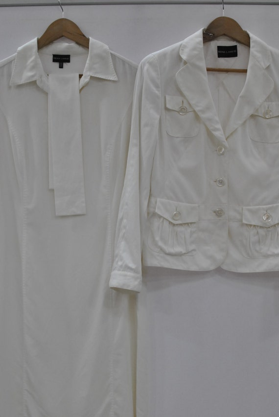 Vintage RENA LANGE white suit , women's dress , de