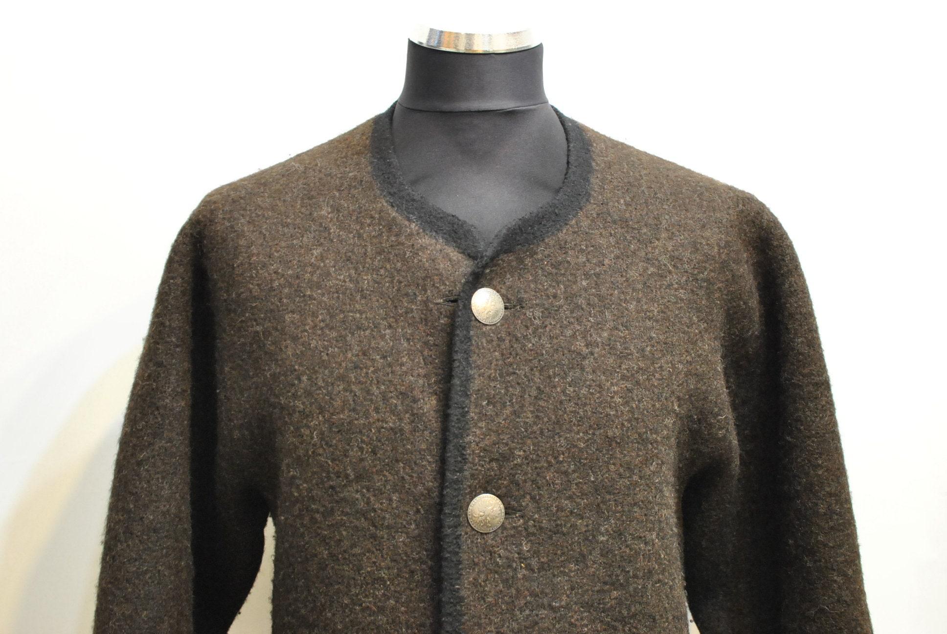 Veste de chasseurs main Vintage fait à la main chasseurs en pure laine,  manteau Alpine f35c723ef70