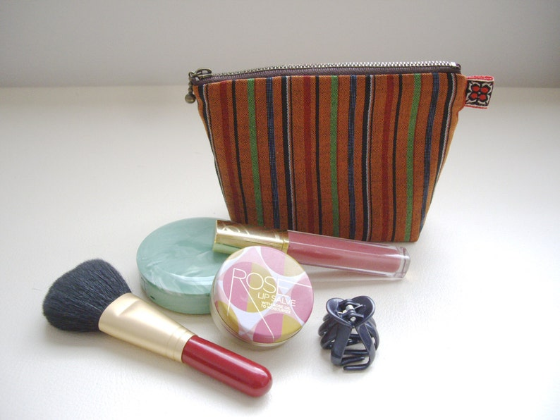 db41e829be68 Striped makeup bag Orange gadget pouch Small utility bag