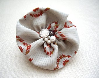 Flower corsage, Flower hair clip, Kimono fabric corsage, Japanese kimono, Corsage clip, Gray red brooch clip, Hair accessory, Japanese gift