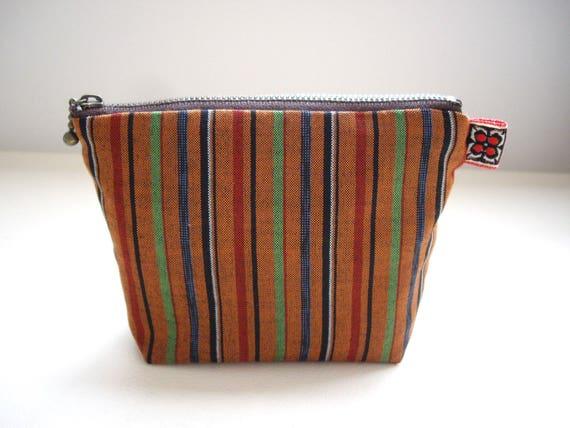 07f1cd99b099 Striped orange makeup bag Gadget pouch Utility bag Japanese