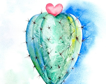 Mother's Day Gift, Original Cactus Painting, Heart Artwork, Grow Love 3, Original Watercolour Painting, watercolor painting, heart, For Mum