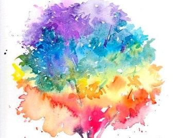 Rainbow tree painting, Spring, Summer, Autumn, Winter, Watercolor, Watercolour, Tree painting, Contemporary art
