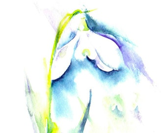 Snowdrop Painting - Giclee Print of Watercolour Painting, Snowdrop Painting, Watercolour Flower Painting, Spring Flower, Floral Painting