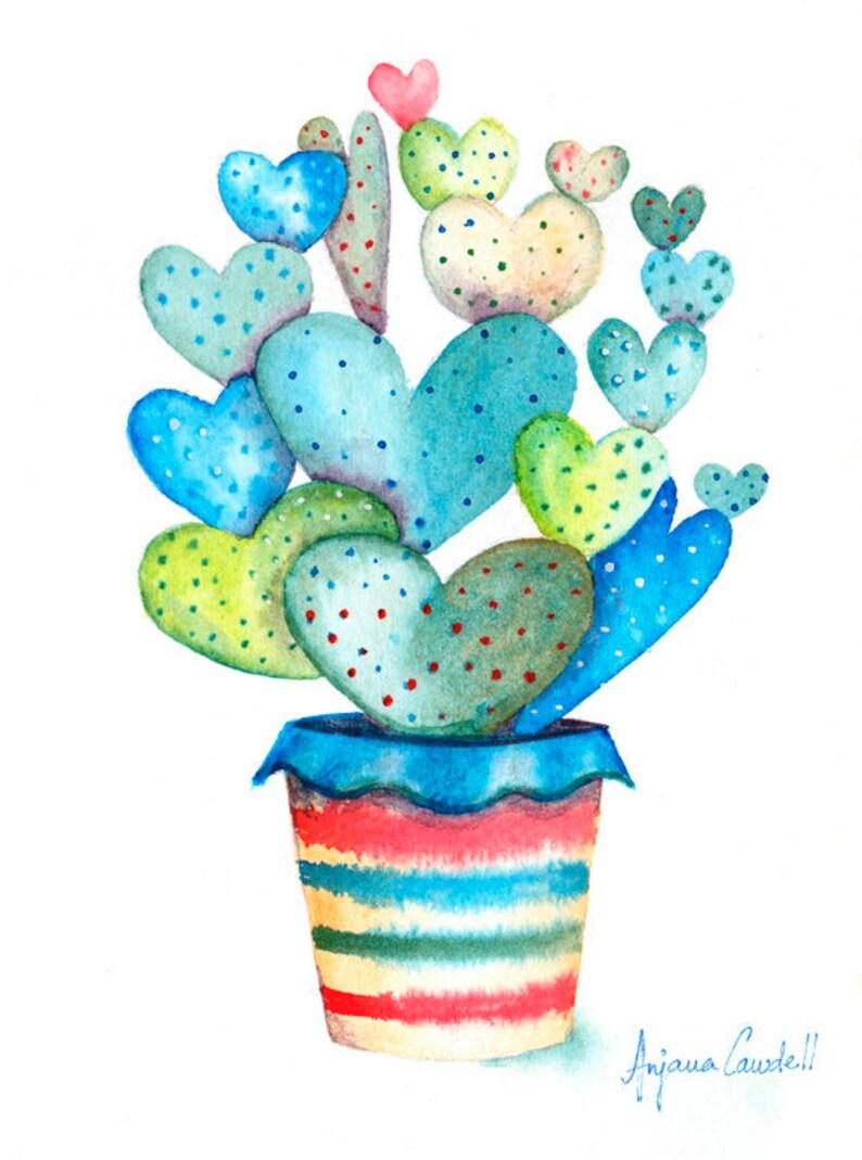 Cactus Painting Watercolour Illustration Original image 0