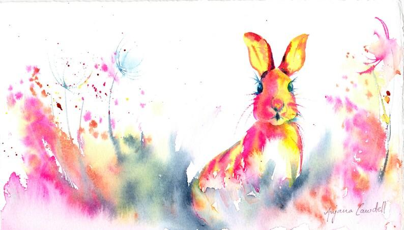 Original Hare Painting Rabbit watercolour Cute Nursery image 0
