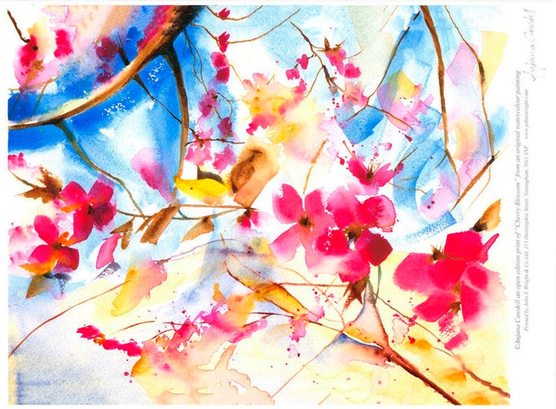 Cherry Blossom Painting Giclee Print of Watercolour Painting image 0
