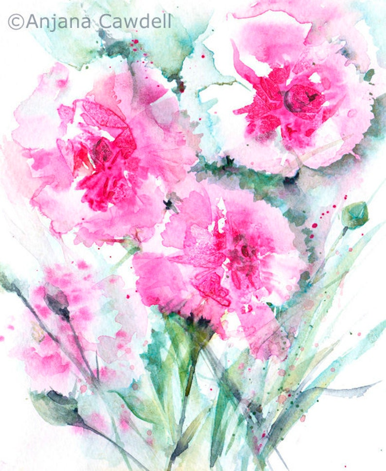 Carnation Painting Original Floral Art House warming gift image 0